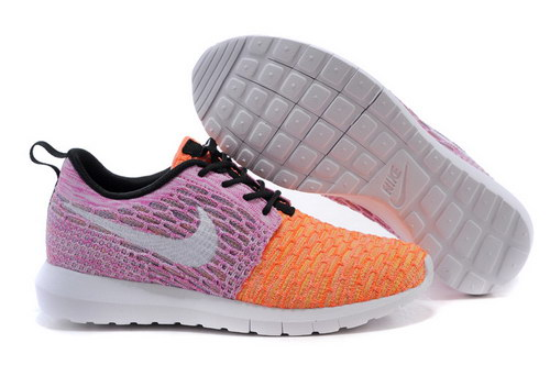 Womens Nike Flyknit Roshe Run Purple Orange White Online